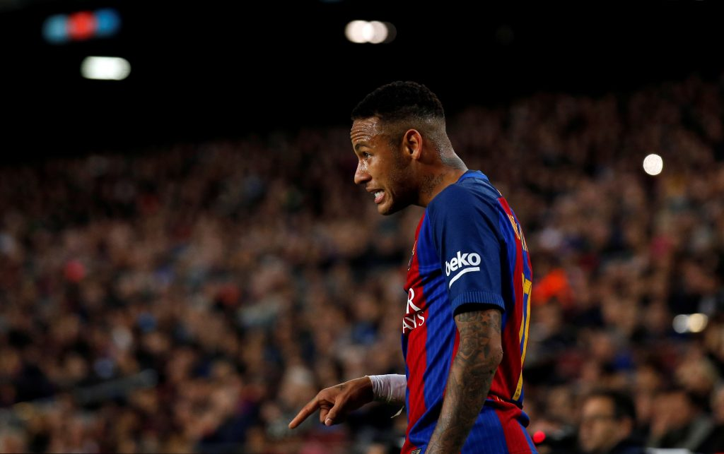 Football Soccer - Barcelona v Malaga - Spanish La Liga Santander - Camp Nou stadium, Barcelona, Spain - 19/11/16. Barcelona's Neymar reacts. REUTERS/Albert Gea - RTSSEN2