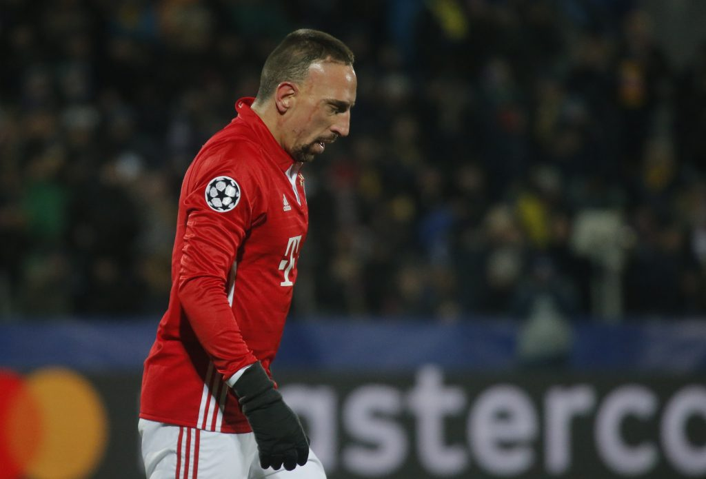 Football Soccer - FC Rostov v FC Bayern Munich - UEFA Champions League Group Stage - Group D - Olimp 2 Stadium, Rostov-on-Don, Russia - 23/11/16. Bayern Munich's Franck Ribery leaves the pitch following their defeat by FC Rostov.  REUTERS/Maxim Shemetov - RTST0GX