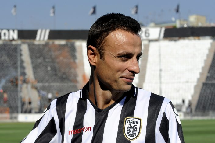 New PAOK Salonika soccer player Dimitar Berbatov looks on during his presentation at the Toumba stadium in Thessaloniki, Greece, September 3, 2015. Berbatov was treated to a hero's welcome on Thursday as 10,000 jubilant PAOK Salonika fans turned up to greet the club's new signing at their Toumba Stadium. REUTERS/Alexandros Avramidis - RTX1QY3F