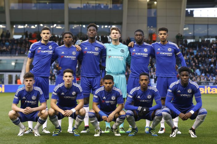 Football Soccer - Manchester City v Chelsea - FA Youth Cup Final First Leg - City Academy Stadium - 22/4/16 Chelsea line up before the game Mandatory Credit: Action Images / Lee Smith Livepic EDITORIAL USE ONLY. - RTX2B9J7
