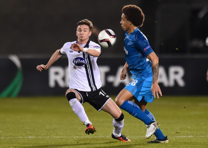 Football Soccer - Dundalk v Zenit Saint Petersburg - UEFA Europa League Group Stage - Group D - Tallaght Stadium, Dublin, Republic of Ireland - 20/10/16 Zenit St Petersburg's Axel Witsel in action with Dundalk's Ronan Finn Reuters / Clodagh Kilcoyne Livepic EDITORIAL USE ONLY. - RTX2PRTZ