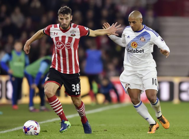 "Football Soccer Britain - Southampton v Sunderland - EFL Cup Fourth Round - St Mary's Stadium - 26/10/16 Southampton's Sam McQueen in action with Sunderland's Wahbi Khazri Reuters / Hannah McKay Livepic EDITORIAL USE ONLY. No use with unauthorized audio, video, data, fixture lists, club/league logos or ""live"" services. Online in-match use limited to 45 images, no video emulation. No use in betting, games or single club/league/player publications. Please contact your account representative for further details. - RTX2QLRU"