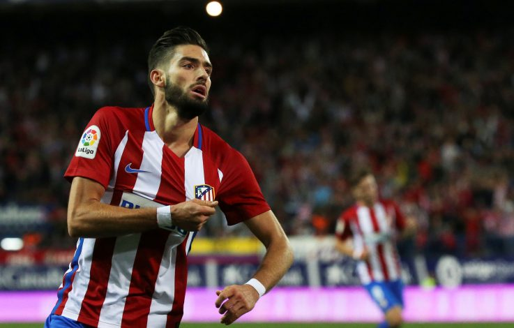 Football Soccer - Spanish Liga Santander - Atletico Madrid v Malaga - Vicente Calderon stadium, Madrid, Spain, 29/10/16 Atletico Madrid's Yannick Carrasco celebrates after scoring his second goal. REUTERS/Sergio Perez - RTX2QZRK