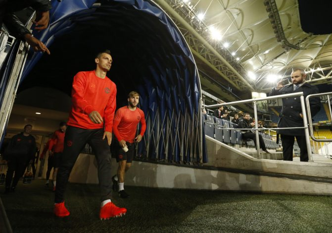 Football Soccer - Manchester United Training - Sukru Saracoglu Stadium, Istanbul, Turkey - 2/11/16 Manchester United's Morgan Schneiderlin and Luke Shaw during training Action Images via Reuters / Andrew Boyers Livepic EDITORIAL USE ONLY. - RTX2RKJV