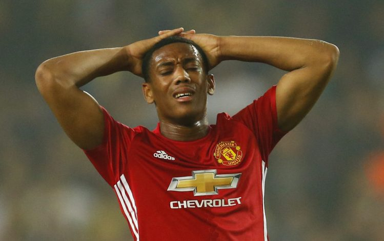 Football Soccer - Fenerbahce SK v Manchester United - UEFA Europa League Group Stage - Group A - SK Sukru Saracoglu Stadium, Istanbul, Turkey - 3/11/16 Manchester United's Anthony Martial looks dejected Action Images via Reuters / Andrew Boyers Livepic EDITORIAL USE ONLY. - RTX2RS35