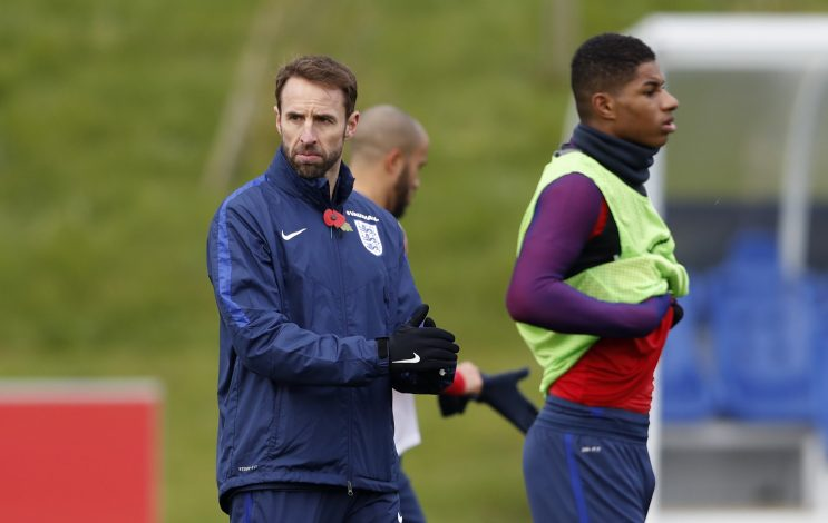 Britain Football Soccer - England Training - St. George's Park, Burton upon Trent - 8/11/16 England's interim manager Gareth Southgate and Marcus Rashford during training Action Images via Reuters / Carl Recine Livepic EDITORIAL USE ONLY. - RTX2SHOD
