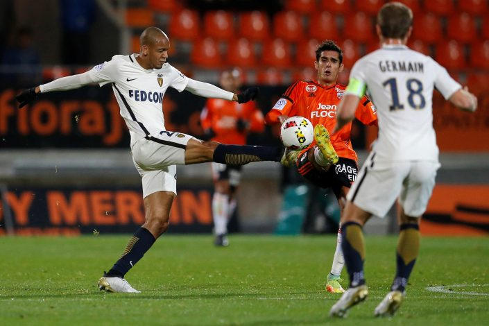 Football Soccer - FC Lorient v AS Monaco - French Ligue 1 - Moustoir stadium, 18/11/2016. Lorient's Francois Bellugou (R) in action with Monaco's Fabinho. REUTERS/Stephane Mahe - RTX2UC6G