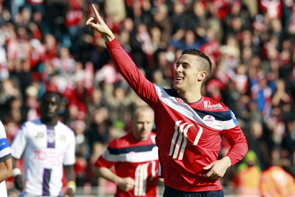 Lille's Eden Hazard celebrates after he scored a penalty during their French Ligue 1 soccer match against Toulouse.