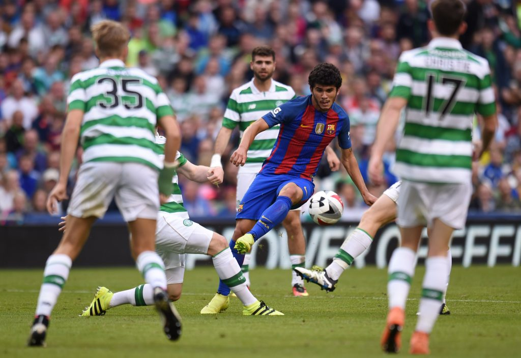 Barcelona's Carles Alena in action against Celtic.