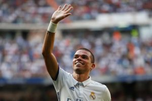 Pepe celebrates his first goal during the match.