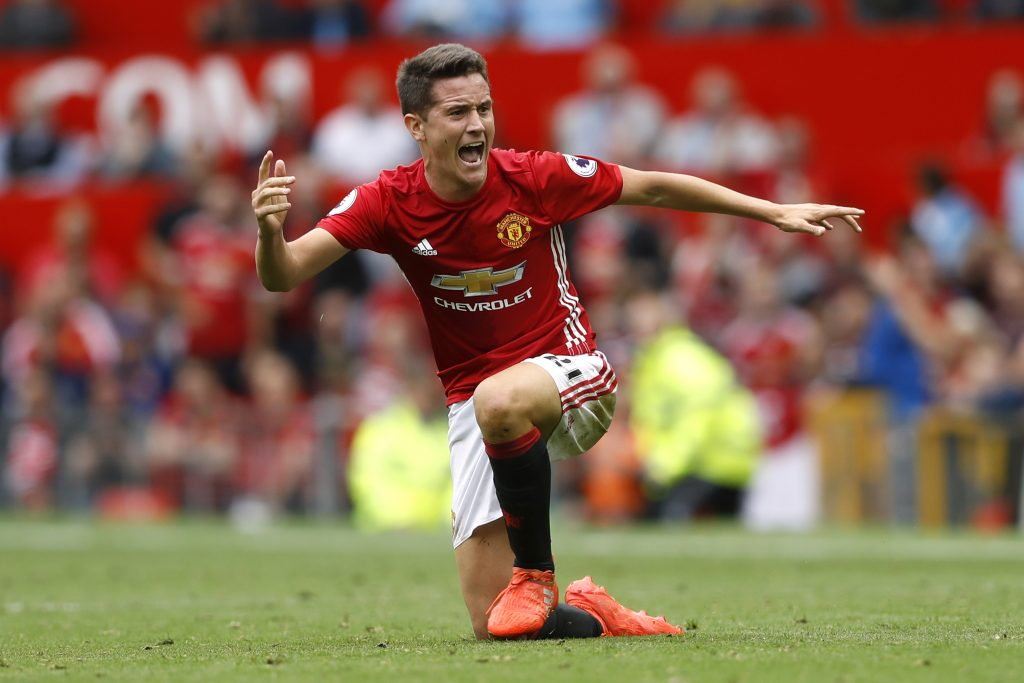 Manchester United's Ander Herrera reacts.