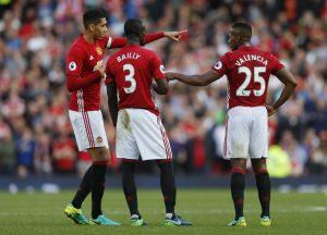 Manchester United's Chris Smalling, Eric Bailly and Antonio Valencia