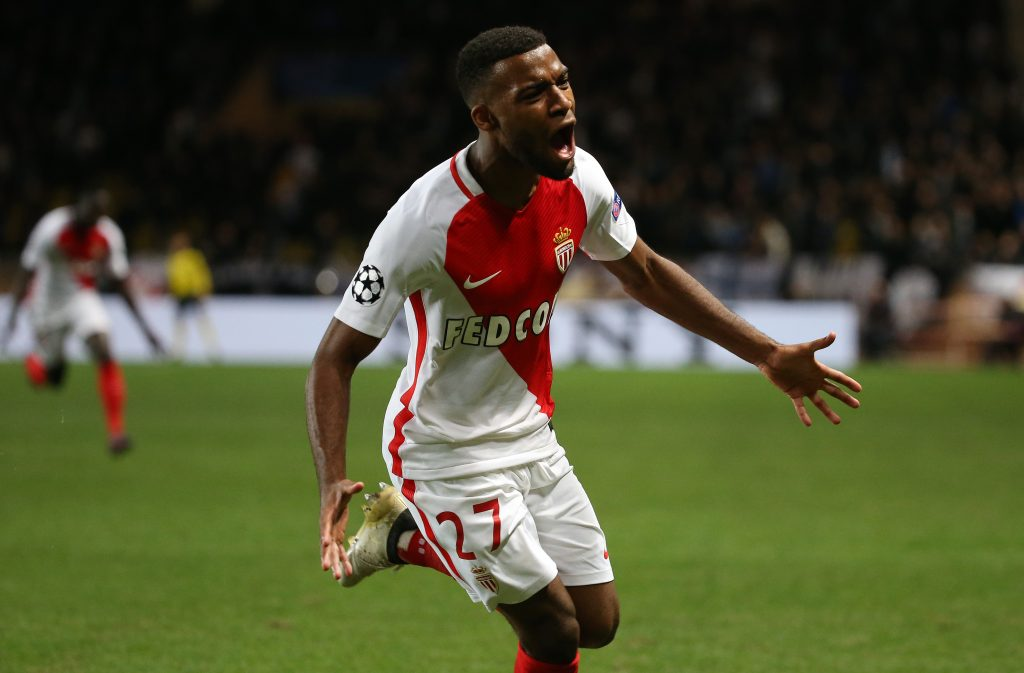 Thomas Lemar celebrates scoring Monaco's second goal.
