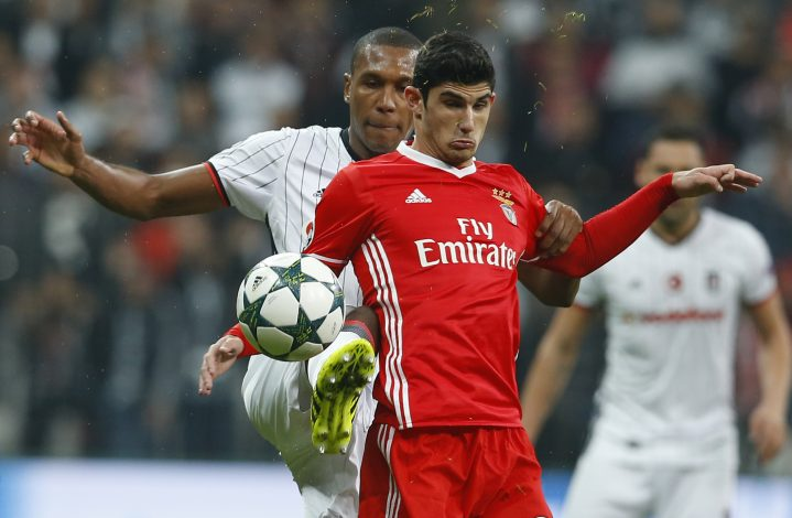 Besiktas's Marcelo and Benfica's Goncalo Guedes.
