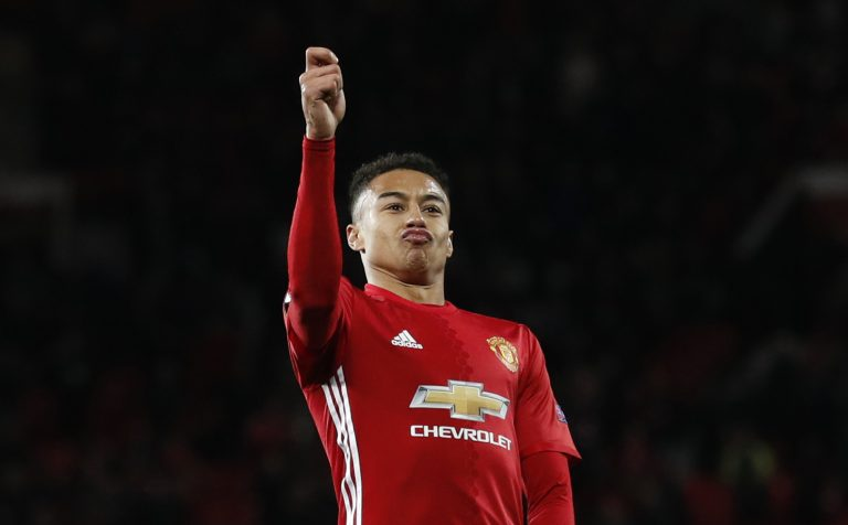 Manchester United's Jesse Lingard celebrates scoring their fourth goal.