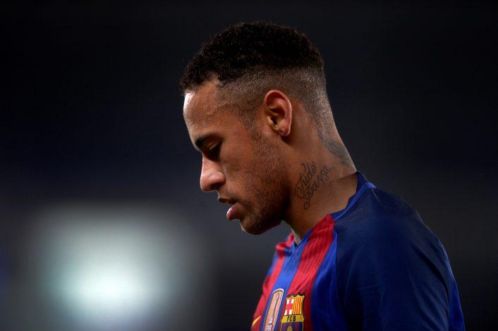 Barcelona's Neymar reacts.