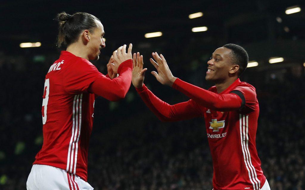 Anthony Martial celebrates scoring second goal with Zlatan Ibrahimovic.