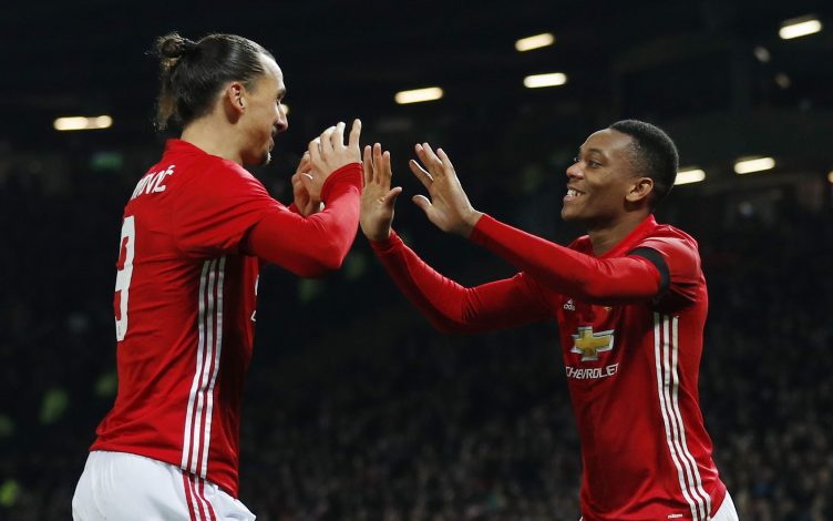 Anthony Martial celebrates scoring second goal with Zlatan Ibrahimovic.