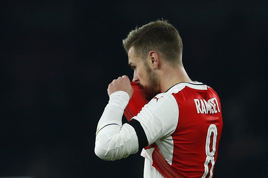 Aaron Ramsey looks dejected after the game.