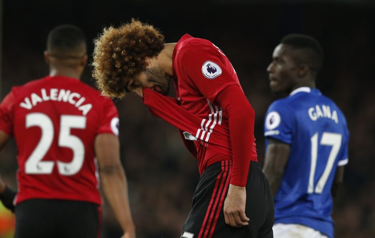 "Football Soccer Britain - Everton v Manchester United - Premier League - Goodison Park - 4/12/16 Manchester United's Marouane Fellaini looks dejected after conceding a penalty for a foul on Everton's Idrissa Gueye Reuters / Andrew Yates Livepic EDITORIAL USE ONLY.No use with unauthorized audio, video, data, fixture lists, club/league logos or ""live"" services. Online in-match use limited to 45 images, no video emulation. No use in betting, games or single club/league/player publications. Please contact your account representative for further details - RTSUM21"