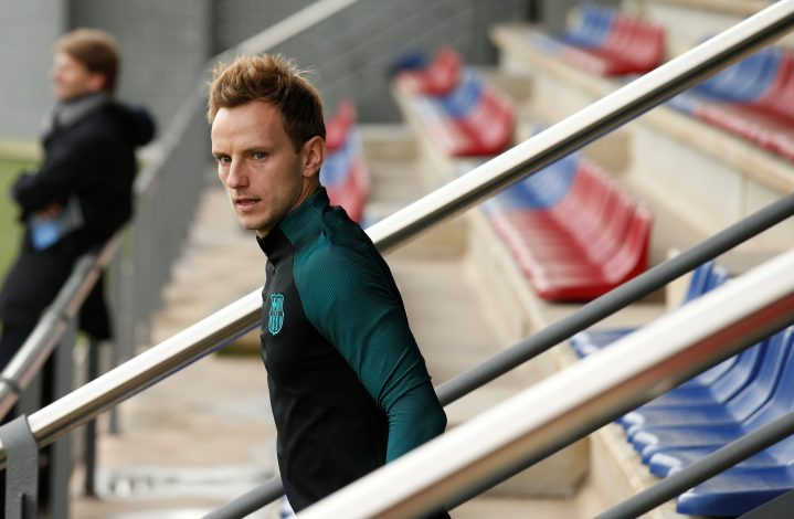 Ivan Rakitic attends a training session.