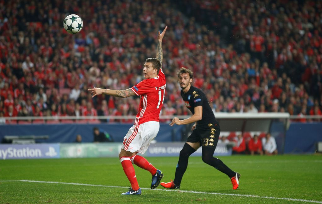 Victor Lindelof in action against Manolo Gabbiadini.