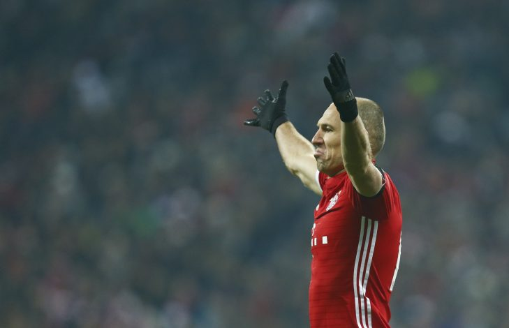 Arjen Robben reacts during the match.
