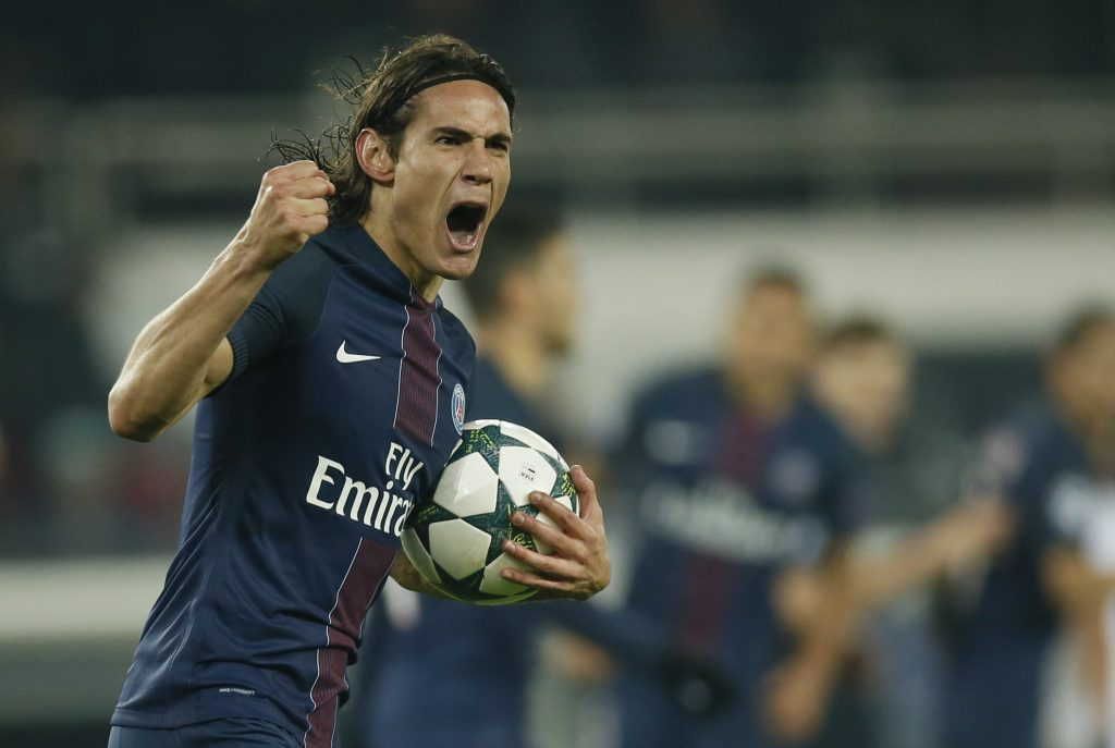Edinson Cavani celebrales after scoring against PFC Ludogorets.