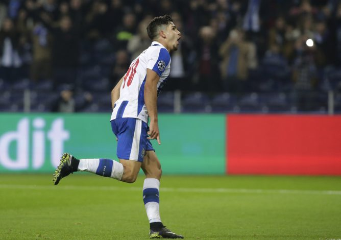FC Porto's Andre Silva celebrates scoring their fourth goal.