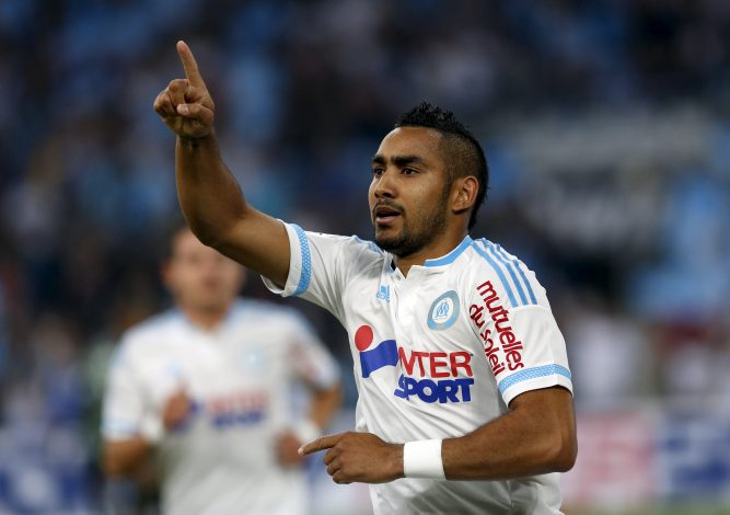 Olympique Marseille's Dimitri Payet celebrates after scoring a goal against Bastia.
