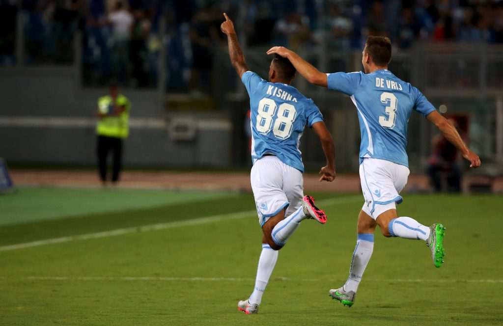 Lazio's Kishna celebrates with his teammate De Vrij