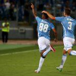 Lazio's Kishna celebrates with his teammate De Vrij