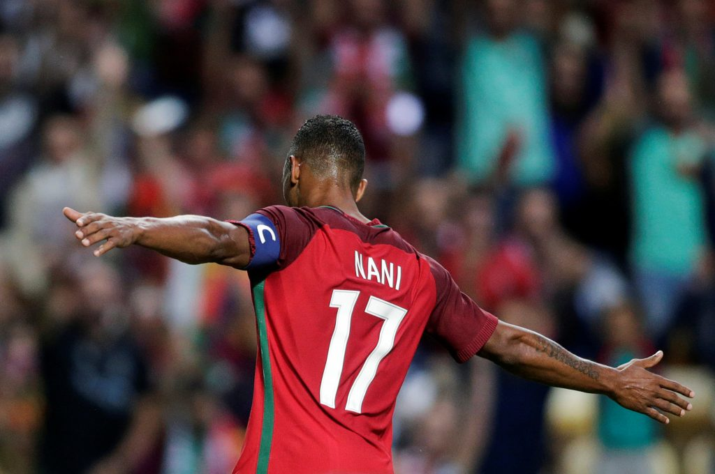 Portugal's Nani Almeida celebrates his goal against Gibraltar.