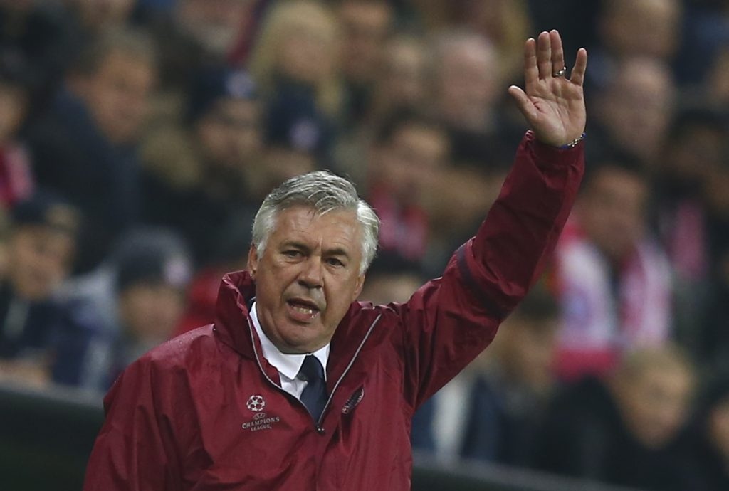 Carlo Ancelotti reacts during his team's match against PSV Eindhoven.