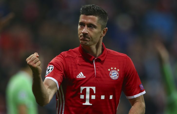 Robert Lewandowski celebrates his goal against PSV Eindhoven.