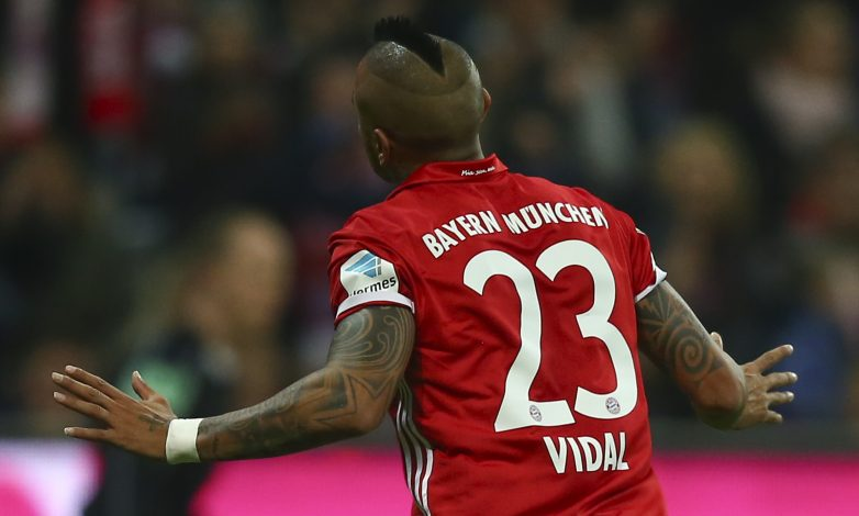 Arturo Vidal celebrates his goal against Borussia Moenchengladbach.