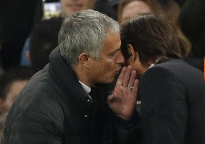 Jose Mourinho and Chelsea manager Antonio Conte at the end of the match.