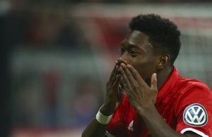 David Alaba reacts after scoring.