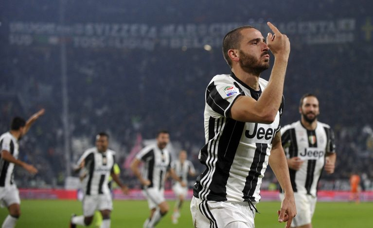 Leonardo Bonucci celebrates after scoring.