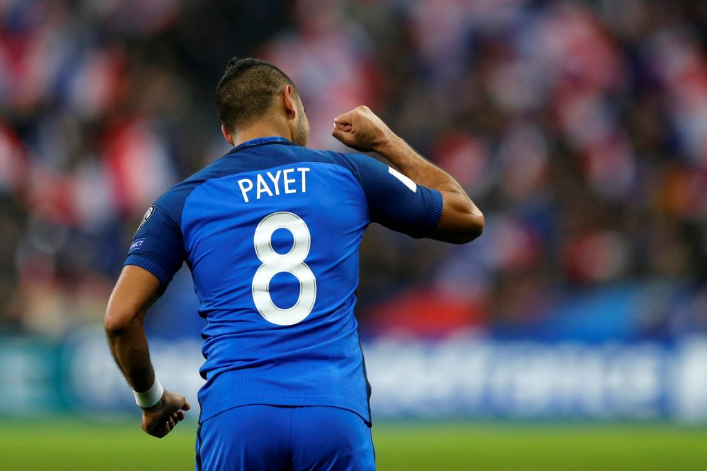 Dimitri Payet celebrates after he scored against Sweden.