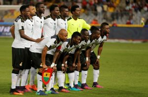 Ghana's players pose for a team picture before the game.