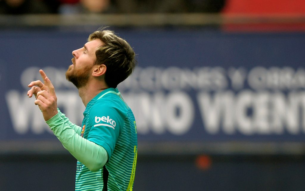 Lionel Messi celebrates a goal.