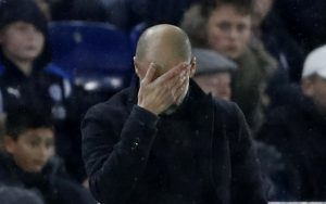 Pep Guardiola looks dejected