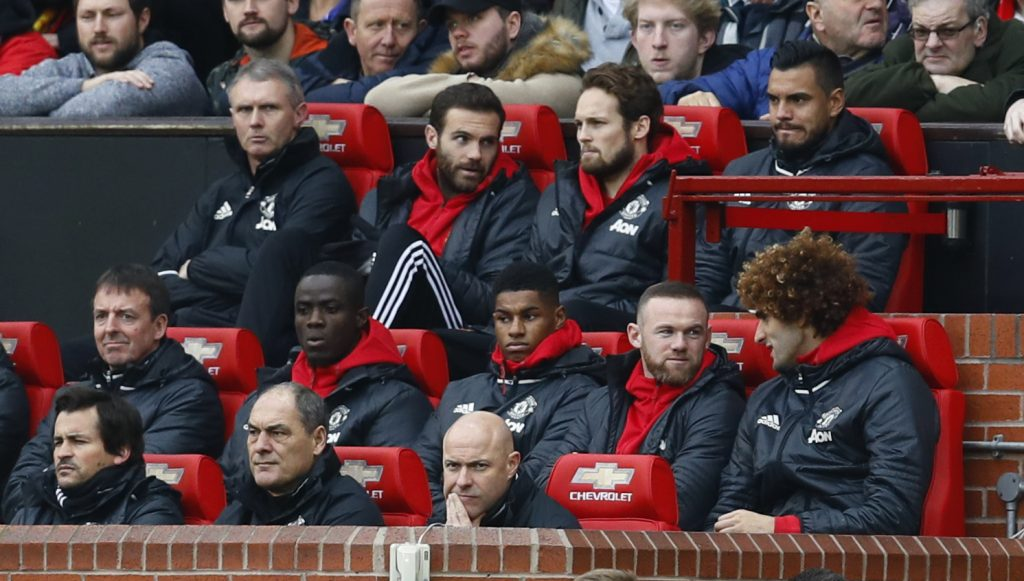 Juan Mata, Daley Blind, Sergio Romero, Eric Bailly, Marcus Rashford, Wayne Rooney and Marouane Fellaini on the substitutes bench.