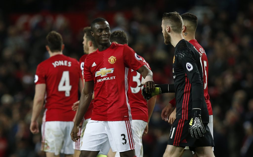 David De Gea celebrates after the game with Eric Bailly.