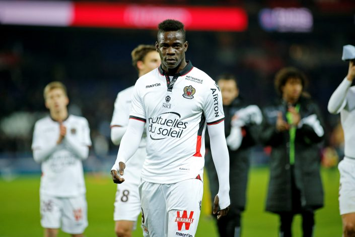 Mario Balotelli reacts at the end of the match.
