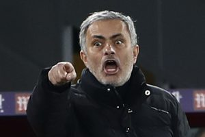 Manchester United manager Jose Mourinho reacts.