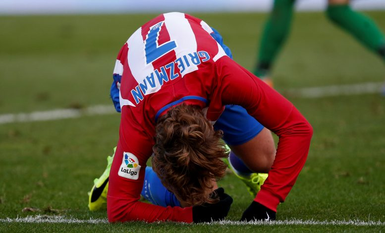 Antoine Griezmann reacts during the match.