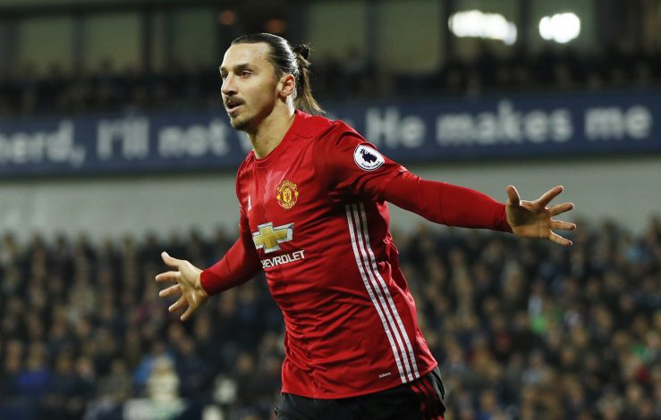 Zlatan Ibrahimovic celebrates scoring.