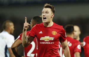 Phil Jones reacts.